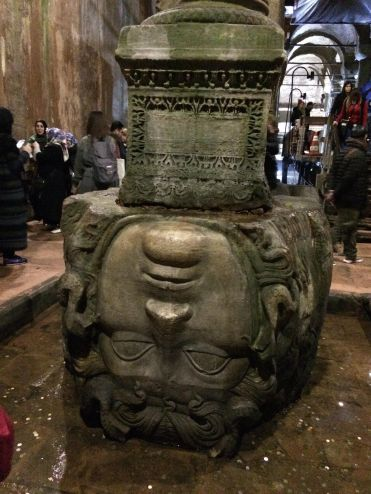 Medusa's upside down head as the base of a column
