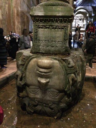 Medusa's upside down head as the base of a column