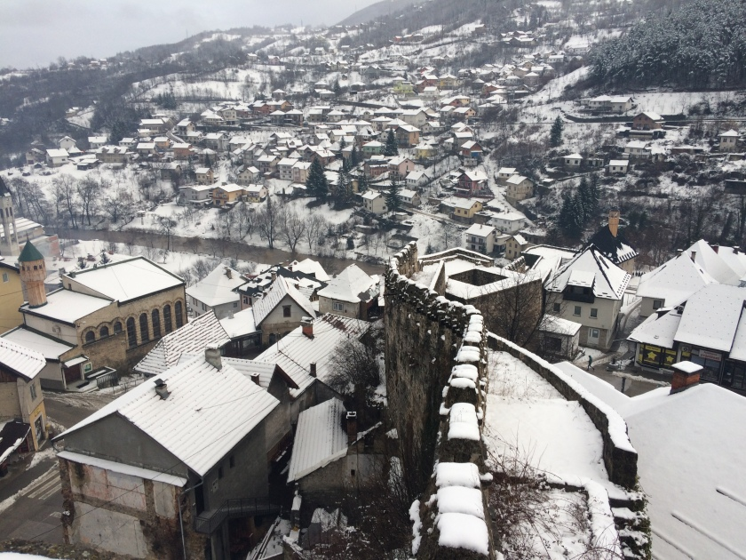 View of Jajce from the hilltop Fortress