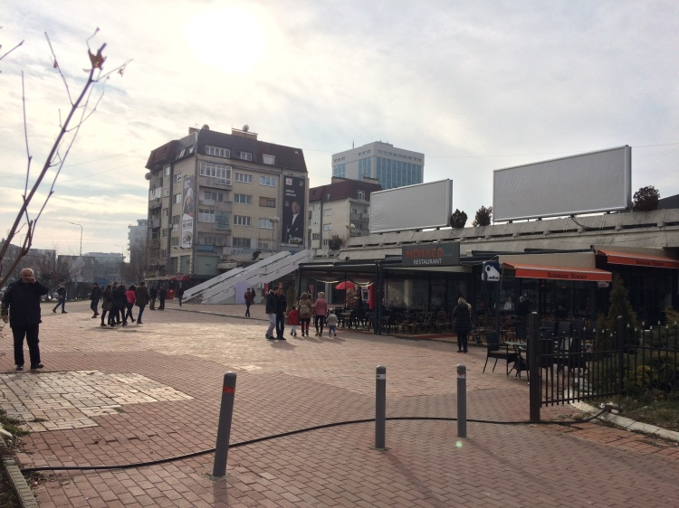 Empty NEWBORN plaza in Pristina, Kosovo