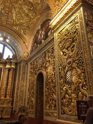 Gold-lined walls in St John's Cathedral